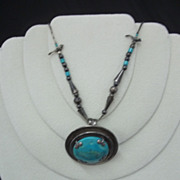 Sterling Silver and Turquoise Necklace marked Mexico