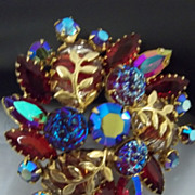 SALE Vintage Multi Colored Rhinestone Brooch