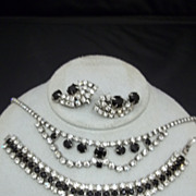 Vintage Costume Black and Clear Rhinestone Set