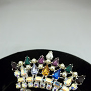 Rhinestone Crown Brooch B David Costume Jewelry