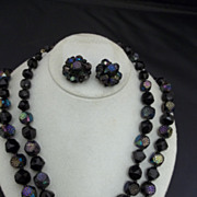 West Germany Black Beaded Necklace Earrings