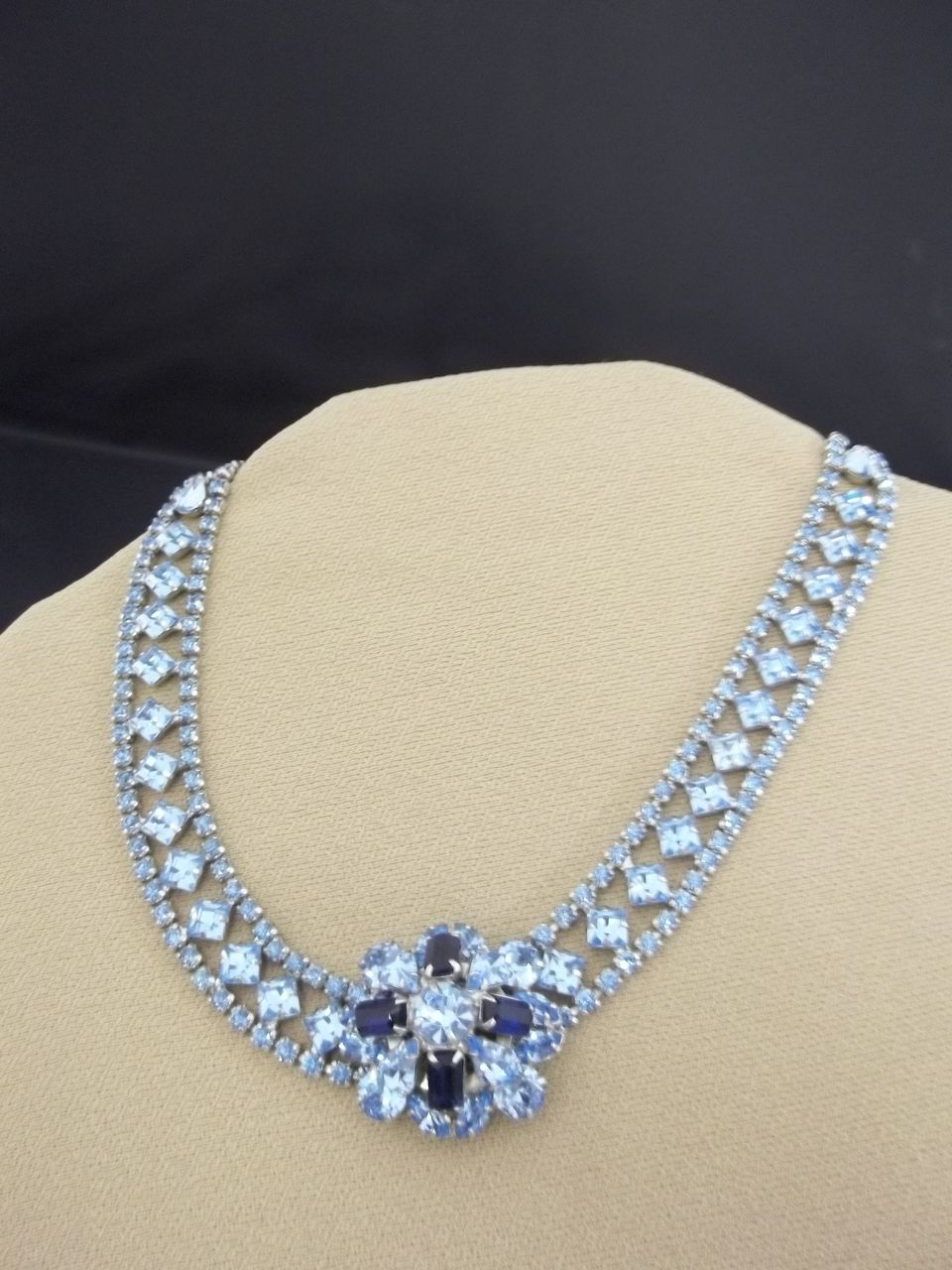 Vintage Sparkling Blue Rhinestone Necklace