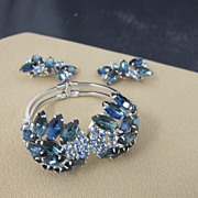 Brilliant Blues Bracelet and Matching Clip Earrings