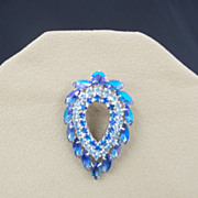Dazzling Diamond Shaped Blue Rhinestone Pin
