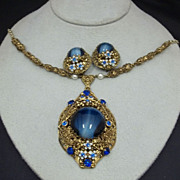 Costume Jewelry Blue Stone Necklace Earrings