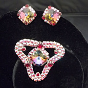 Rhinestone Vintage Costume Brooch Earring Set