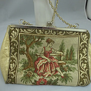 Vintage Italian Gold Needlepoint Scenic Purse