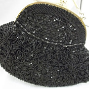 Vintage Black Hong Kong Beaded Purse LaRegale