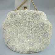 Vintage White Beaded Hand Made Purse