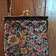 Vintage Needlepoint Floral Beaded Purse