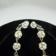 Vintage Rhinestone Dangle Clip Earrings
