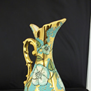 Vibrantly Colored Gold and Turquoise Pitcher