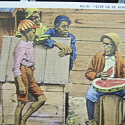 Black Americana Postcard Man Eating Watermelon