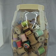 SALE PENDING Vintage Wooden Spools in Gallon Jar