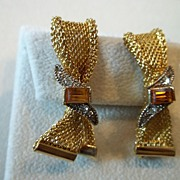 SALE Emmons Gold Tone Mesh Topaz Bow Earrings