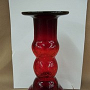 Crackle Glass Red Candle Holder