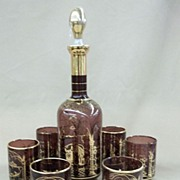 Vintage Amethyst Decanter and Six Glasses