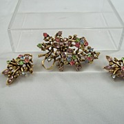 SALE Vintage Coro Brooch and Earrings