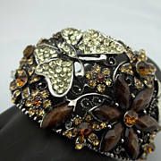 Wraparound Brown Rhinestone Butterfly Bracelet