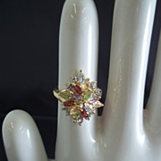 Multi-colored Rhinestone Ring Size 7