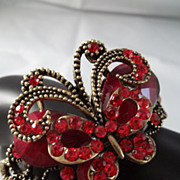 Beautiful Red Rhinestone Butterfly Bracelet