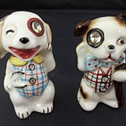 Collectible Dog Salt and Pepper Shakers with Rhinestone Eyes