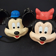 Mickey and Minnie Mouse Plastic Canteens
