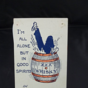 Humorous Man in Whisky Barrel Postcard