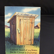 1900's Humorous Postcard of a Country Outhouse