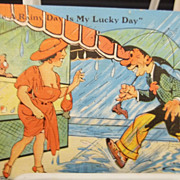 1934 Comical Rainy Day Weather Postcard