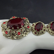Vintage Filigreed Red Glass Brooch and Earrings