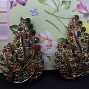 Vintage Rhinestone Shoe Clips Leaves
