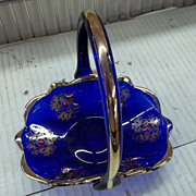 Cobalt Blue Basket with Flowers and a Gold Trimmed Handle