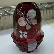 Beautiful Fenton Red Fairy Lamp/Handpainted