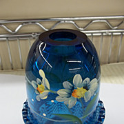 Fenton Cobalt Blue Handpainted Fairy Lamp