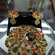 Dazzling Multi-Colored  Rhinestone Brooch and Earrings