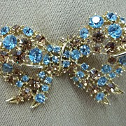 Vintage Collectible Brilliant Blue/Amber Rhinestone Bow Pin