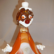 Vintage Art Glass Orange/Multi Colored Clown