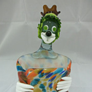 Vintage  Green/Orange Art Glass Clown Planter