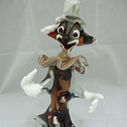 Vintage Art Glass Brown/Multi Colored Clown