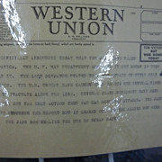 WWII Western Union Telegram Re; Japan Taking Sal Hepatica