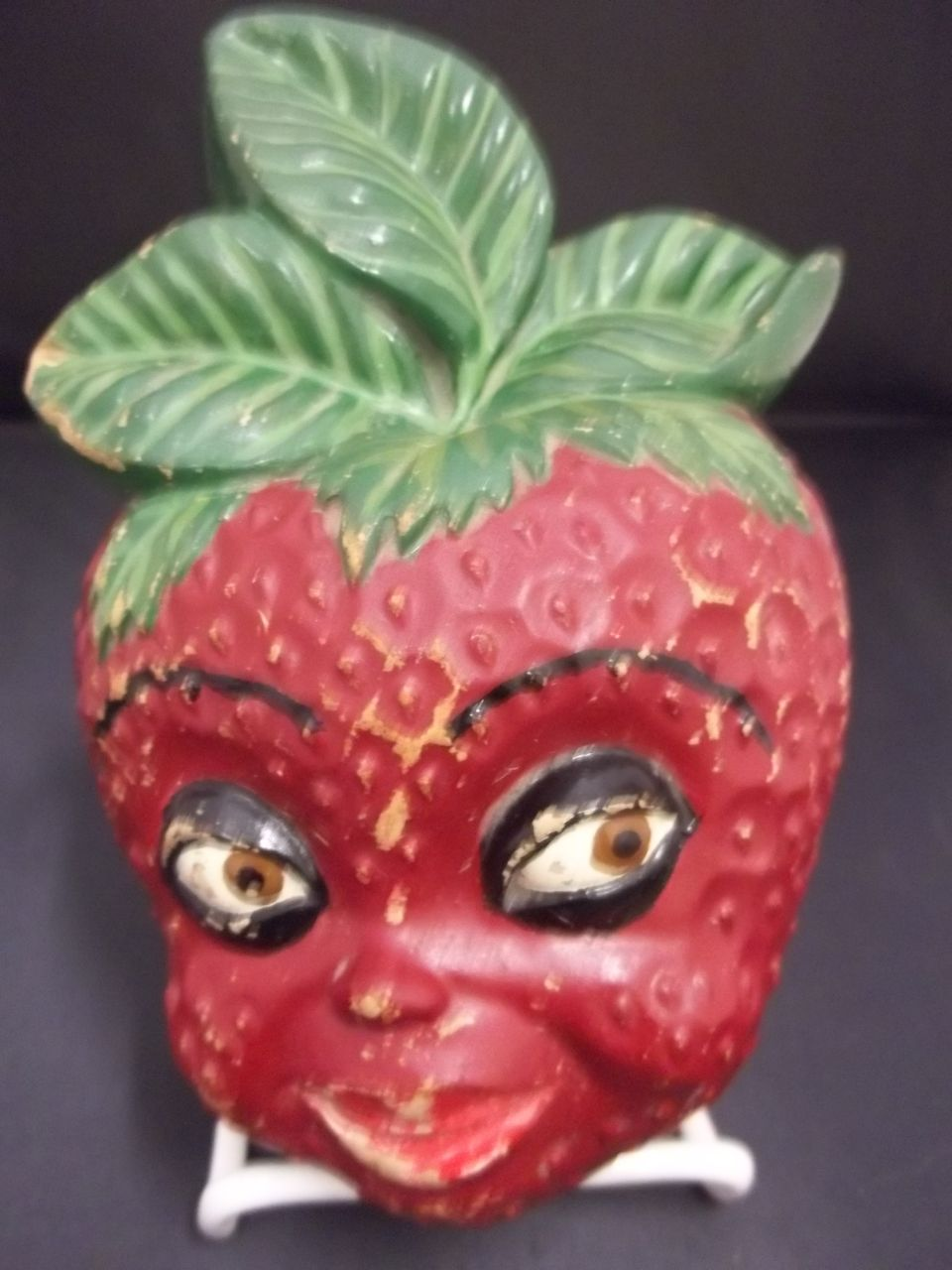 Vintage String Holder with a  Strawberry Shaped Black Face