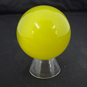 Collectible Two Inch Yellow  Colored Fiber-Optic  Glass Marble