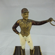 Old Metal Jockey  Double  Pipe Holder