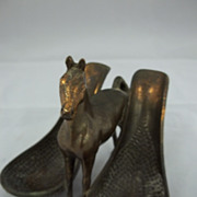 Vintage Metal Horse Double Pipe Holder