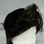 Black Velvet Small Brimmed Feather Hat