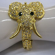 Vintage jewelry collectible rhinestone articulated elephant bracelet