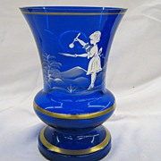 Collectible cobalt blue handpainted vase