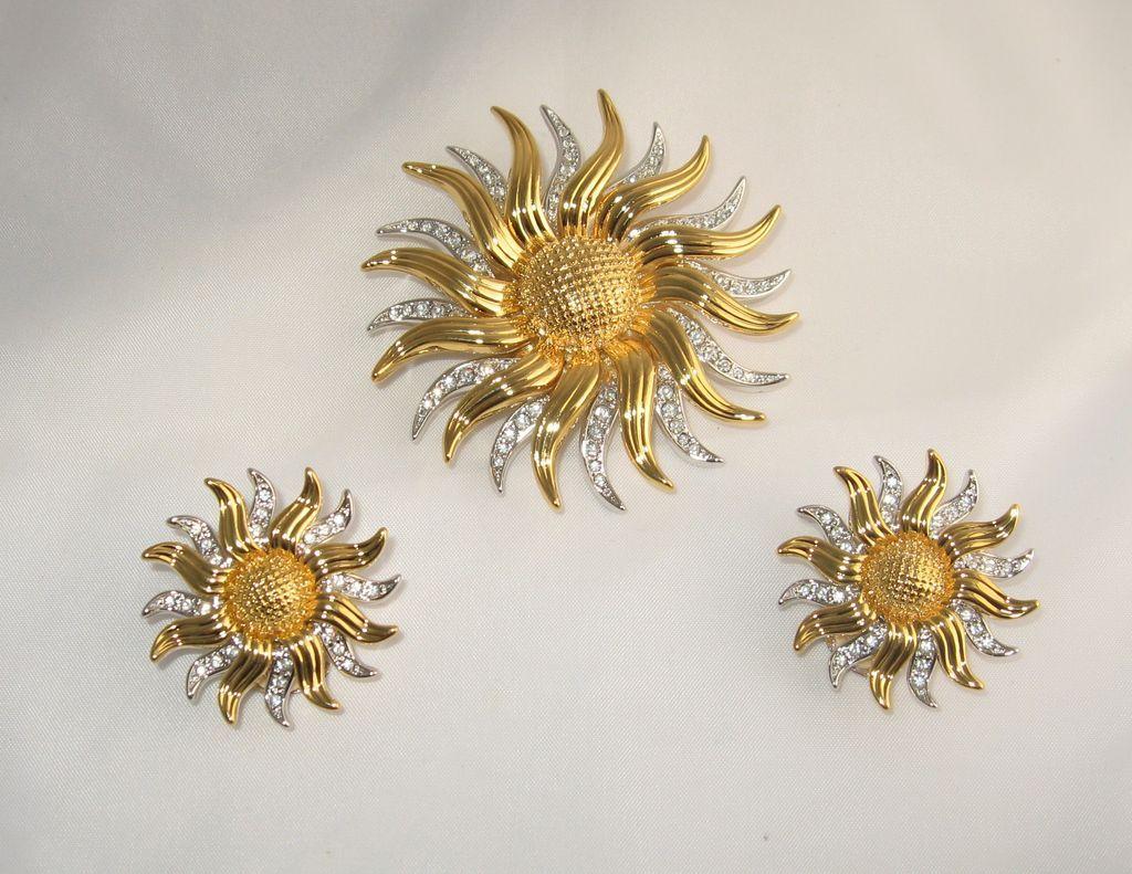 Sun Rhinestone Kjl Pin Necklace Earrings Kenneth Jay
