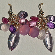 Glistening Pink Amethyst, Showy Pink Sapphire and Exceptional Chalcedony Earrings